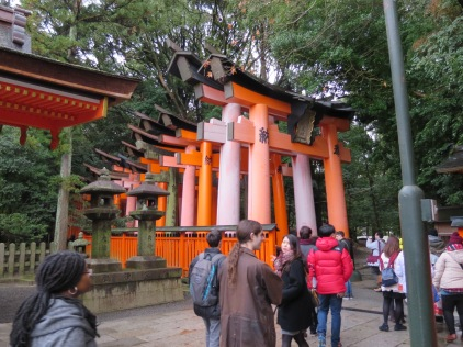The beginning of the torii trail at Fushimi Inari