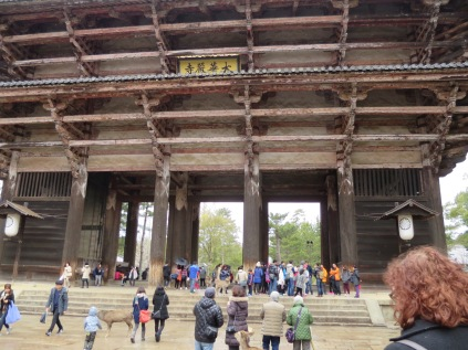 The massive gate leading to the Todai-ji in Nara.