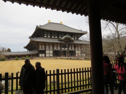 There it is! One of the biggest wooden structures in the world -- Daibutsuden! Can you believe that the current building is actually smaller than it used to be? It has been destroyed and rebuilt due to fires and earthquakes many times!