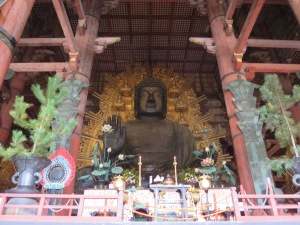 The giant Buddha (Daibutsu) housed inside the Daibutsuden