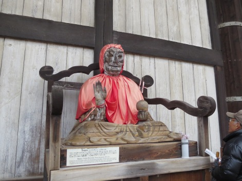 This is a statue of Binzuru; it is said that if you rub a part of his body that matches where you hurt, you will be healed.