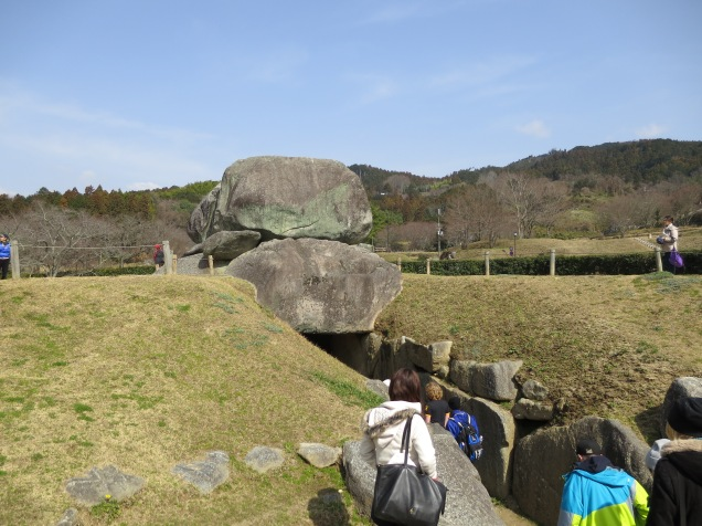 This is the Ishibutai. It was possibly the tomb of Soga no Umako, a powerful member of the Soga clan during the sixth and seventh centuries. There were rumors that the Soga clan were going to try and usurp the throne, and one of the indications of this is the Ishibutai which was built on an imperial scale for a member not of the royal family.