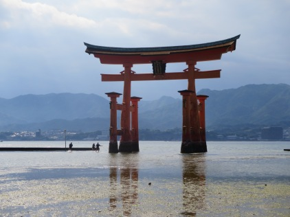The floating torii gate just before low tide
