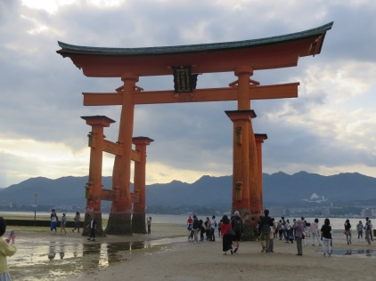 The floating torii gate of Miyajima at low tide