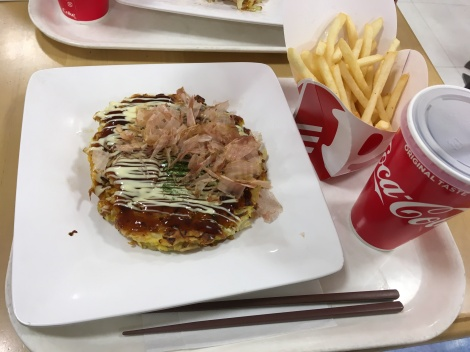 Is that... okonomiyaki and french fries?! Yes, it is! Only in Japan :)