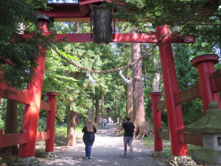 Torii gate at Uga Shrine in the middle of Lake Nojiri.