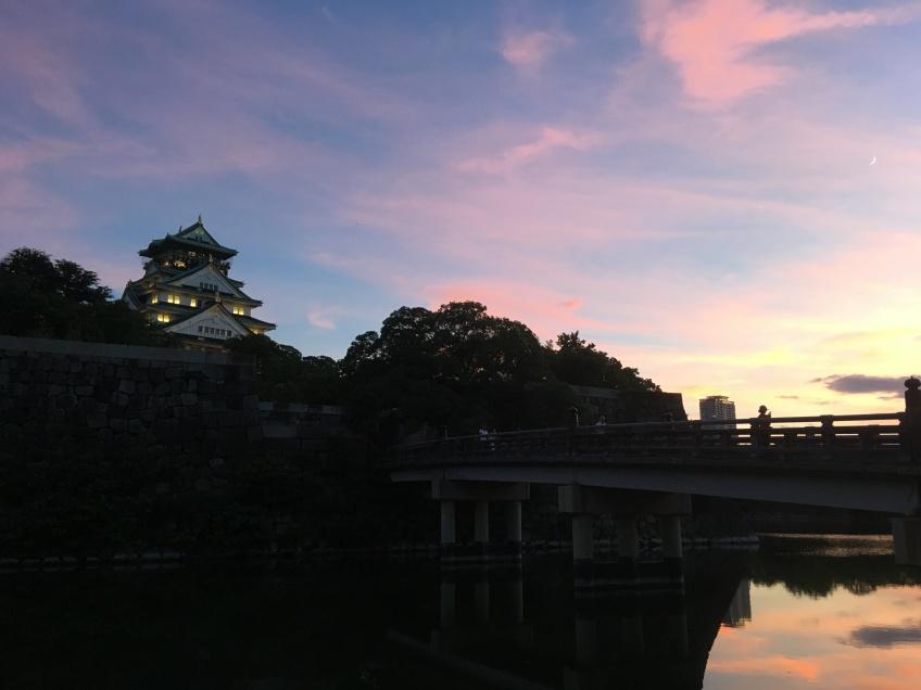 Osaka castle at sunset